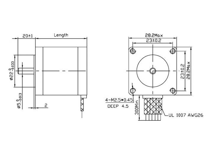 Stepper Motor: Bipolar, 200 Steps/Rev, 28×45mm, 4.5V, 0.67