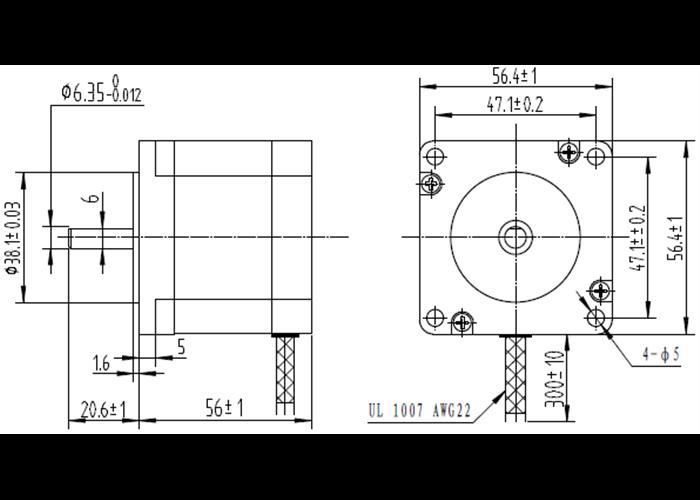 Stepper Motor: Unipolar/Bipolar, 200 Steps/Rev, 57×56mm, 7