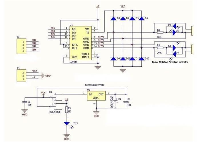 Dual H Bridge Motor Driver Board L298n Robot Gear