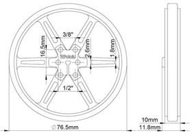 Mechanical drawing of wheel 80x10mm without tire