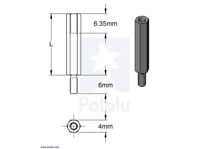 aluminum standoff for raspberry pi  18 6mm length  m2 5