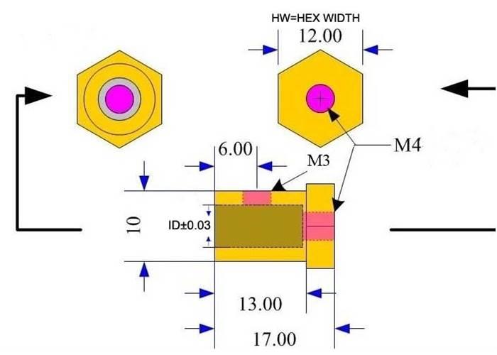 12mm Hex Wheel Hub Adaptor For 3mm Shaft Pair