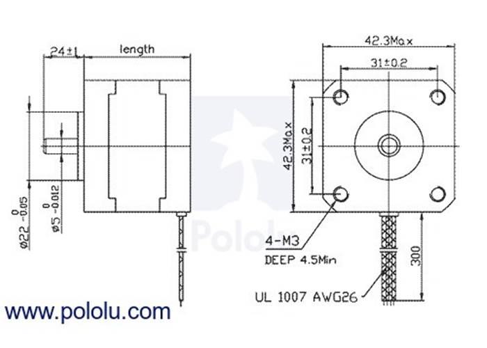 Stepper Motor: Bipolar, 200 Steps/Rev, 42×38mm, 2 8V, 1 7 A