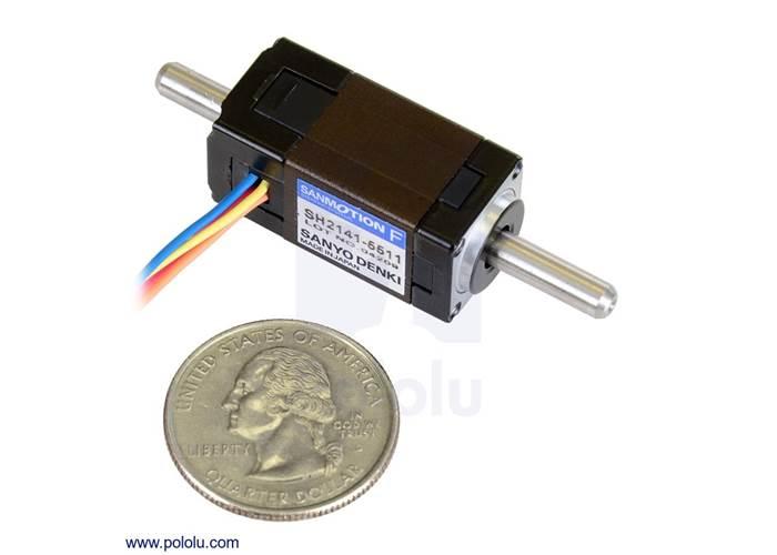 Sanyo miniature stepper motor bipolar 200 steps rev 14 for Double shaft stepper motor
