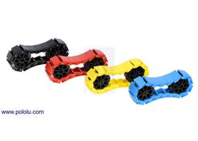 18-link chains of the miniature tank tracks in assorted colors with 8-tooth sprocket pairs