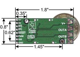 Pololu high-power motor driver bottom view with dimensions