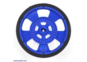 Blue Solarbotics GMPW wheel with silicone tire.  This view shows the hub designed for the Solarbotics GM gearbox output shafts and the 64-stripe encoder pattern