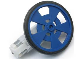 Solarbotics GMPW blue plastic wheel with molded tire and encoder stripes, mounted on a GM9 gearmotor