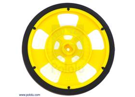 Yellow Solarbotics GMPW wheel with silicone tire.  This view shows the hub designed for the Solarbotics GM gearbox output shafts and the 64-stripe encoder pattern
