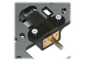 Micro metal gearmotor mounted to a piece of acrylic with black mounting bracket version