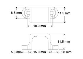 Dimensions of the metal gear motor mounting bracket