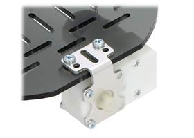 Plastic gearmotor with offset output (item #1118 or #1119) mounted with Pololu extended stamped aluminum L-bracket (2) (2)