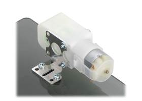 Plastic gearmotor with 90-degree output (item #1120 or #1121) mounted with Pololu extended stamped aluminum L-bracket
