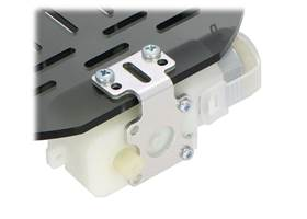 Plastic gearmotor with 90-degree output (item #1120 or #1121) mounted with Pololu extended stamped aluminum L-bracket (2) (2)