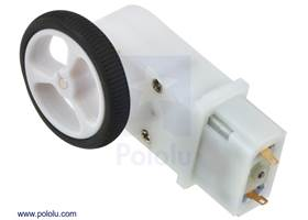 Mini plastic gearmotor 90-degree 3mm D-shaft output with Pololu 32x7mm wheel
