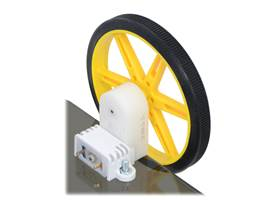80x10mm Pololu wheel and offset mini plastic gearmotor mounted with a wide mini plastic gearmotor bracket