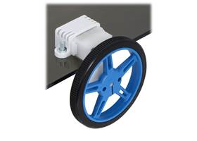 60x8mm wheel and offset mini plastic gearmotor mounted with a wide mini plastic gearmotor bracket