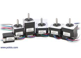Bipolar stepper motors; from left to right: 20x30, 28x32, 28x45, 35x26, 35x28, 35x36mm