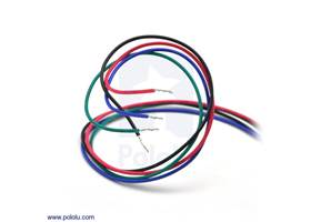 Bipolar stepper motor wires are terminated with bare leads