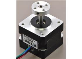 5mm Pololu universal aluminum mounting hub on a stepper motor with a 5mm-diameter output shaft