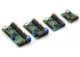 Maestro family of USB servo controllers: Mini 24, Mini 18, Mini 12, and Micro 6