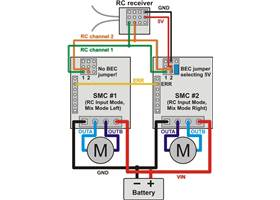 Wiring diagram for pairing two Simple Motor Controllers with RC channel mixing