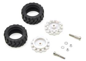 Pololu 42x19mm idler wheel/sprocket pair with white hubs and included hardware