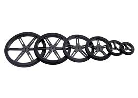 Black Pololu wheels with 90, 80, 70, 60, 40, and 32 mm diameters (other colors available)