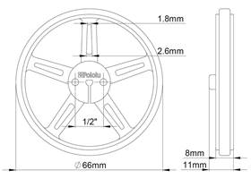 Mechanical drawing of Pololu wheel 70x8mm without tire