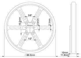 Mechanical drawing of Pololu wheel 90x10mm without tire