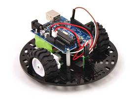"Pololu 5"" round robot chassis RRC04A with an Arduino Duemilanove and a Sharp digital distance sensor"
