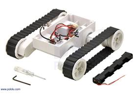 Dagu Rover 5 tracked chassis with encoders, shown with included tools