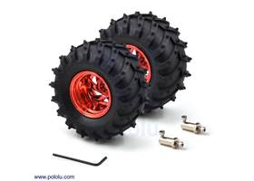 Dagu Wild Thumper wheel pair 120x60mm (metallic red) with included 4mm hub adapters and Allen wrench