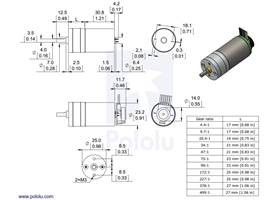 Dimensions of the Pololu 25D mm metal gearmotors.  Units are mm over [inches]
