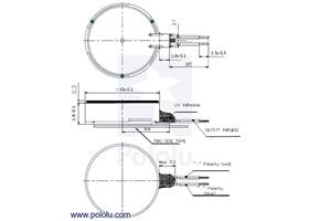 Dimension diagram (in mm) for the shaftless vibration motor 10x3.4mm