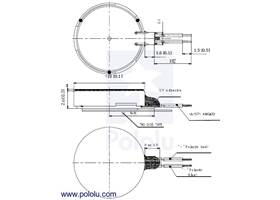 Dimension diagram (in mm) for the shaftless vibration motor 10x2.0mm
