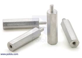 "Aluminum standoff: 3/4"" length, 2-56 thread, M-F (4-pack)"