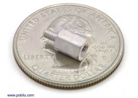 "Aluminum standoff 0.25"" 2-56 M-F with U.S. quarter for size reference"