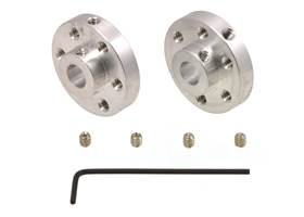 A pair of Pololu universal aluminum mounting hubs for 1/4 inch diameter shafts