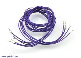 """Wires with pre-crimped terminals 5-pack F-F 36"""" purple"""
