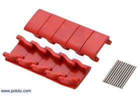 Red miniature track links with included pins