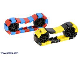 20-link chains of the miniature tank tracks in mixed colors with 8-tooth sprocket pairs