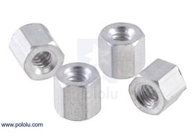 "Aluminum standoff: 3/16"" length, 4-40 thread, F-F (4-pack)"