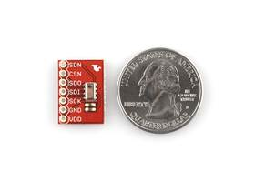 MPL115A1 barometric pressure sensor breakout board, top view with U.S. quarter for size reference