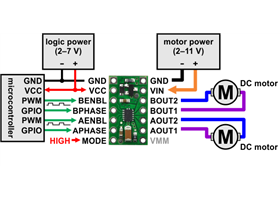 Minimal wiring diagram for connecting a microcontroller to a DRV8835 dual motor driver carrier in phase-enable mode