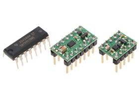 TI SN754410 (16-pin DIP) next to the #2135 DRV8835 carrier (14-pin DIP) and #2990 DRV8838 carrier (10-pin DIP) for size reference
