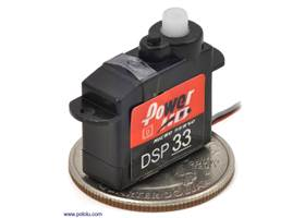 Power HD high-speed digital sub-micro servo DSP33 with U.S. quarter for size reference