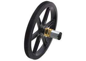 Black Pololu 90x10mm wheel on a Pololu micro metal gearmotor