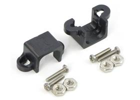 Black micro metal gearmotor mounting bracket pair with included screws and nuts