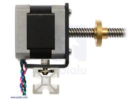 NEMA 17 stepper motor with lead screw mounted with a stamped aluminum L-bracket